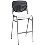 "KFI 30"" Poly Stack Chair with Perforated Back - Black/White"