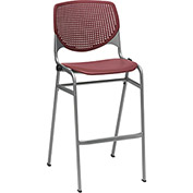 KFI Perforated Stack Stool - Plastic - Burgundy