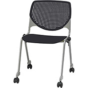 KFI Stack Chair with Casters and Perforated Back -  Plastic Seat - Black - KOOL Series
