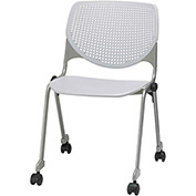 KFI Stack Chair with Casters and Perforated Back -  Plastic Seat - Light Grey - KOOL Series