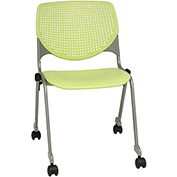 KFI Stack Chair with Casters and Perforated Back -  Plastic Seat - Lime Green - KOOL Series