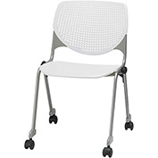 KFI Stack Chair with Casters and Perforated Back -  Plastic Seat - White - KOOL Series