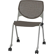 KFI Stack Chair with Casters and Perforated Back -  Plastic Seat - Brownstone - KOOL Series