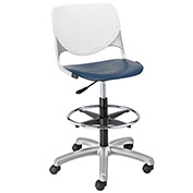 KFI Poly Adjustable Stool with Perforated Back - White/Navy