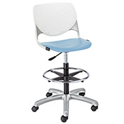 KFI Poly Adjustable Stool with Perforated Back - White/Sky Blue