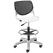 KFI Poly Adjustable Stool with Perforated Back - Black/White