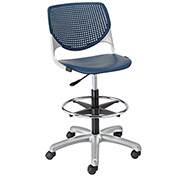 KFI Poly Adjustable Stool with Perforated Back - Navy