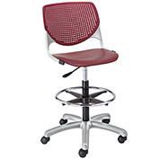 KFI Poly Adjustable Stool with Perforated Back - Burgundy