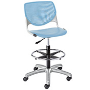 KFI Poly Adjustable Stool with Perforated Back - Sky Blue