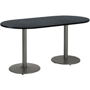 "KFI 30""W x 72""L Racetrack Pedestal Table with Graphite Nebula Top, Round Silver Base"
