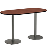 """KFI 30""""W x 72""""L Racetrack Pedestal Table with Mahogany Top, Round Silver Base, Bistro Height"""