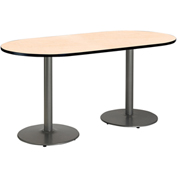 "KFI 30""W x 72""L Racetrack Pedestal Table with Natural Top, Round Silver Base"