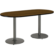 """KFI 30""""W x 72""""L Racetrack Pedestal Table with Walnut Top, Round Silver Base"""