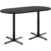 "KFI 30""W x 72""L Racetrack Pedestal Table with Graphite Nebula Top, Black X-Base, Bistro Height"