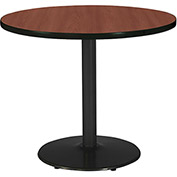 "KFI 30"" Round Pedestal Table with Mahogany Top Round Black Base"
