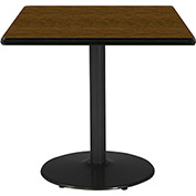 "KFI 30""W Square Pedestal Table with Walnut Top, Round Black Base"
