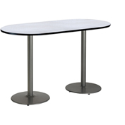 "KFI 36""W x 72""L Racetrack Pedestal Table with Gray Nebula Top, Round Silver Base, Bistro Height"