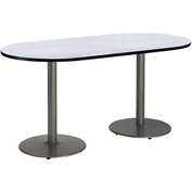 "KFI 36""W x 72""L Racetrack Pedestal Table with Gray Nebula Top, Round Silver Base"
