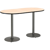 "KFI 36""W x 72""L Racetrack Pedestal Table with Natural Top, Round Silver Base, Bistro Height"