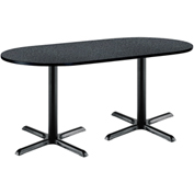 "KFI 36""W x 72""L Racetrack Pedestal Table with Graphite Nebula Top, Black X-Base"