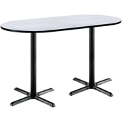 "KFI 36""W x 72""L Racetrack Pedestal Table with Gray Nebula Top, Black X-Base, Bistro Height"