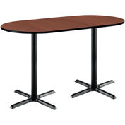 """KFI 36""""W x 72""""L Racetrack Pedestal Table with Mahogany Top, Black X-Base, Bistro Height"""
