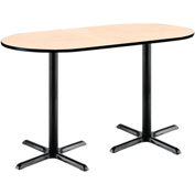 "KFI 36""W x 72""L Racetrack Pedestal Table with Natural Top, Black X-Base, Bistro Height"