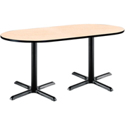 "KFI 36""W x 72""L Racetrack Pedestal Table with Natural Top, Black X-Base"