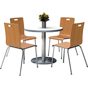 "KFI 36"" Round Dining Table & 4 Chair Set Crisp Linen Table Top with Natural Chairs by Natural Chairs"
