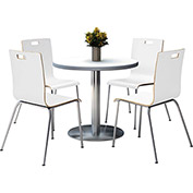 "KFI 36"" Crisp Linen Round Table & 4 Chair Set in White Finish"