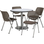 """KFI Table & 4 Chair Set - Brownstone Polypropylene Cafe Chairs & 36""""W x 29""""H Round Gray Nebula Table"""