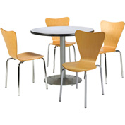 "KFI Table & 4 Chair Set - Stacking Wood Chairs, Natural Finish & 36""W x 29""H Round Grey Nebula Table"
