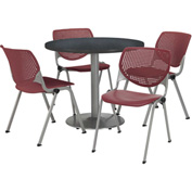 """KFI Table & 4 Chair Set - Burgundy Polypropylene Cafe Chairs & 36""""W x 29""""H Round Graphite Table"""