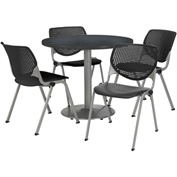 "KFI Dining Table & Chair Set - Round - 36""W x 29""H - Black Plastic Chair with Graphite Table"