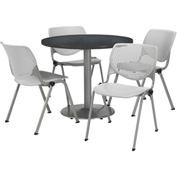 "KFI Table & 4 Chair Set - Light Gray Polypropylene Cafe Chairs & 36""W x 29""H Round Graphite Table"