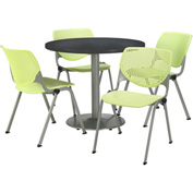 """KFI Table & 4 Chair Set - Lime Polypropylene Cafe Chairs & 36""""W x 29""""H Round Graphite Table"""