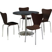 "KFI Table & 4 Chair Set - Stacking Wood Chairs, Espresso Finish & 36""W x 29""H Round Graphite Table"