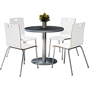 "KFI 36"" Graphite Nebula Round Table & 4 Chair Set in White Finish"