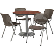 """KFI Table & 4 Chair Set - Brownstone Polypropylene Cafe Chairs & 36""""W x 29""""H Round Mahogany Table"""
