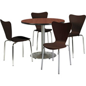 "KFI Table & 4 Chair Set - Stacking Wood Chairs, Espresso Finish & 36""W x 29""H Round Mahogany Table"