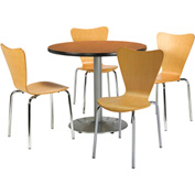 "KFI Table & 4 Chair Set - Stacking Wood Chairs, Natural Finish & 36""W x 29""H Round Medium Oak Table"