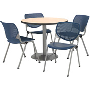 """KFI Table & 4 Chair Set - Navy Polypropylene Cafe Chairs & 36""""W x 29""""H Round Natural Table"""