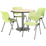 """KFI Table & 4 Chair Set - Lime Polypropylene Cafe Chairs & 36""""W x 29""""H Round Natural Table"""
