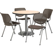 "KFI Table & 4 Chair Set - Brownstone Polypropylene Cafe Chairs & 36""W x 29""H Round Natural Table"