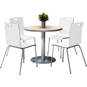 "KFI 36"" Round Dining Table & 4 Chair Set - Natural Table Top with  Crisp Linen Chairs"
