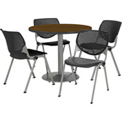 """KFI Table & 4 Chair Set - Black Polypropylene Cafe Chairs & 36""""W x 29""""H Round Walnut Table"""