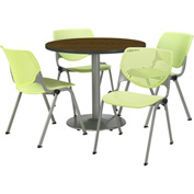 """KFI Table & 4 Chair Set - Lime Polypropylene Cafe Chairs & 36""""W x 29""""H Round Walnut Table"""