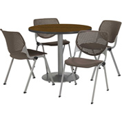 """KFI Table & 4 Chair Set - Brownstone Polypropylene Cafe Chairs & 36""""W x 29""""H Round Walnut Table"""