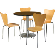 "KFI Table & 4 Chair Set - Stacking Wood Chairs, Natural Finish & 36""W x 29""H Round Walnut Table"