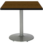 "KFI 36""W Square Pedestal Table with Walnut Top, Round Silver Base"
